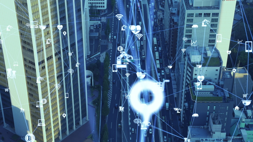 IoT (Internet of Things) concept. Communication network.   Shutterstock HD Video #1042773235