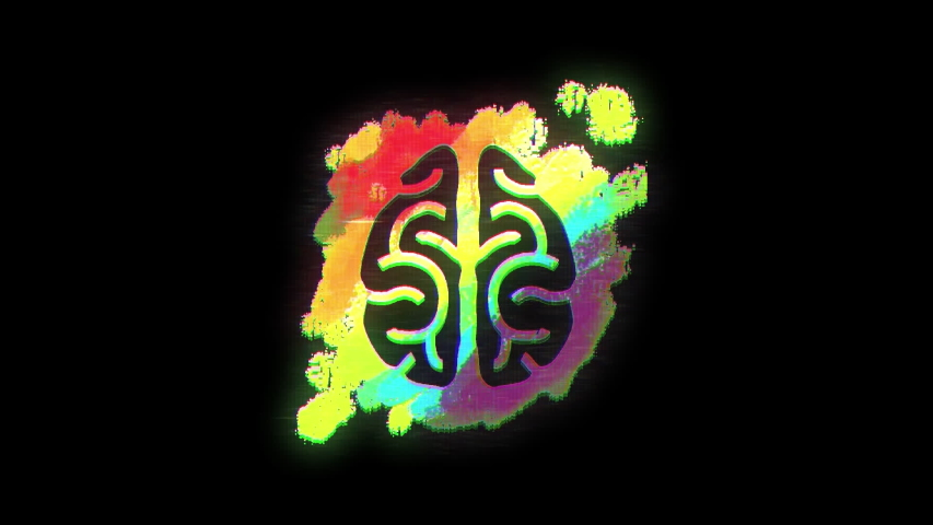 Animation of drawing of human brain on rainbow paint splash on black background | Shutterstock HD Video #1042793785
