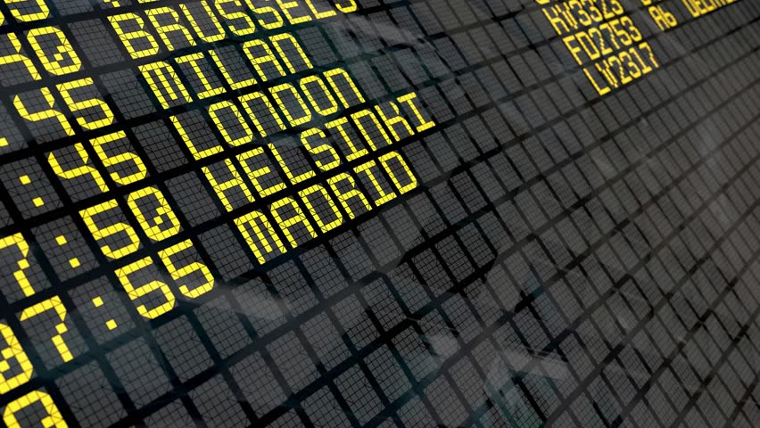 Close-up of an airport departure board to european cities destinations, with environment reflection.Part of a series. 4k video resolution (4096x2304).  | Shutterstock HD Video #10428050