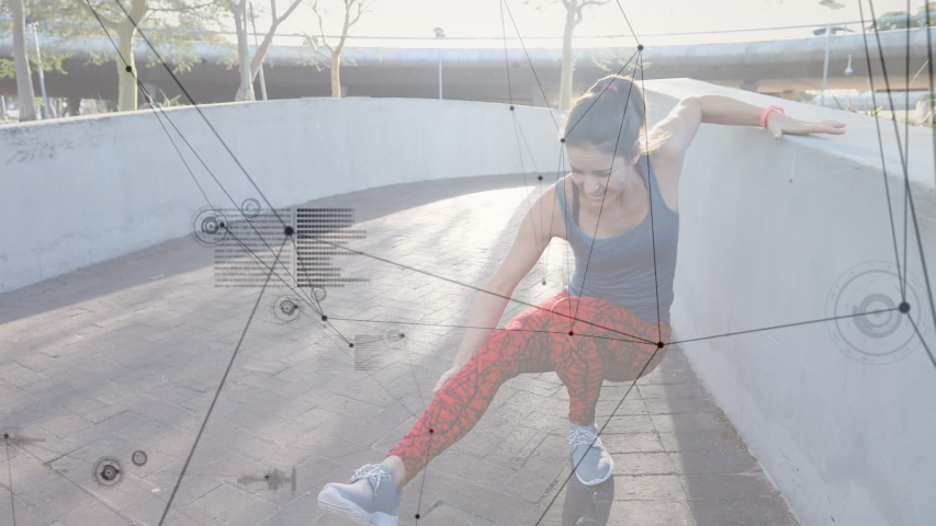 Animation of data processing with a young Caucasian woman injuring herself during a run in an urban park in the background | Shutterstock HD Video #1042814035