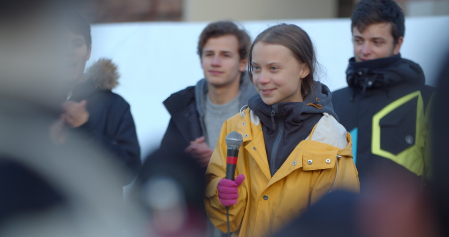 Greta Thunberg Global Strike Speech About Climate Changes and Eco Activism. People Applauding. TURIN, ITALY - DECEMBER 13, 2019