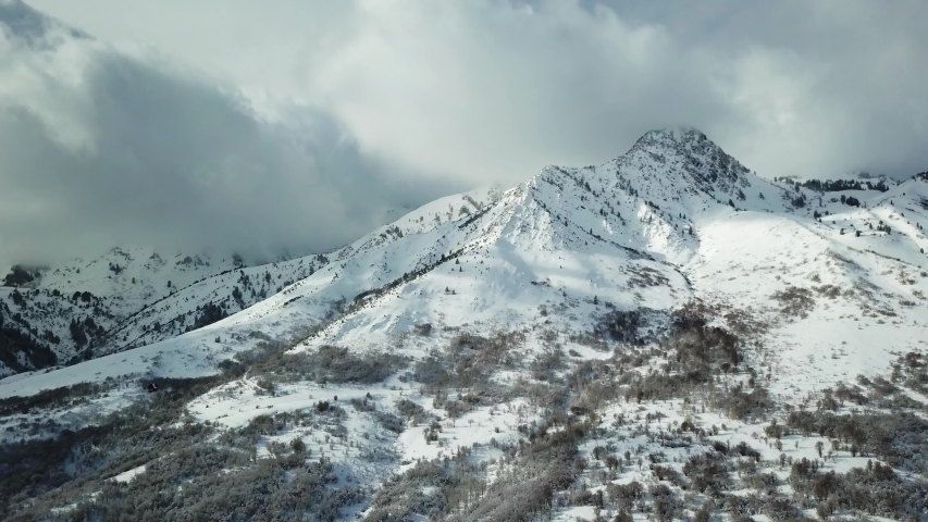 Overcast Winter Mountain Landscape Aerial Views | Shutterstock HD Video #1043049565