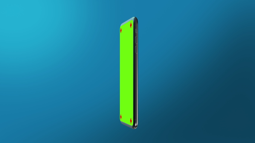 Phone green screen rotation in the centre with a blue background smartphone technology cell phone display with luma white and black key 3D rendering | Shutterstock HD Video #1043235745