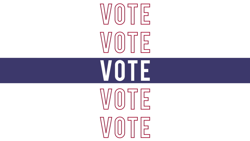 Vote 2020 US Presidential Elections Kinetic text with room for your message at the end. Great for social media campaign ad.