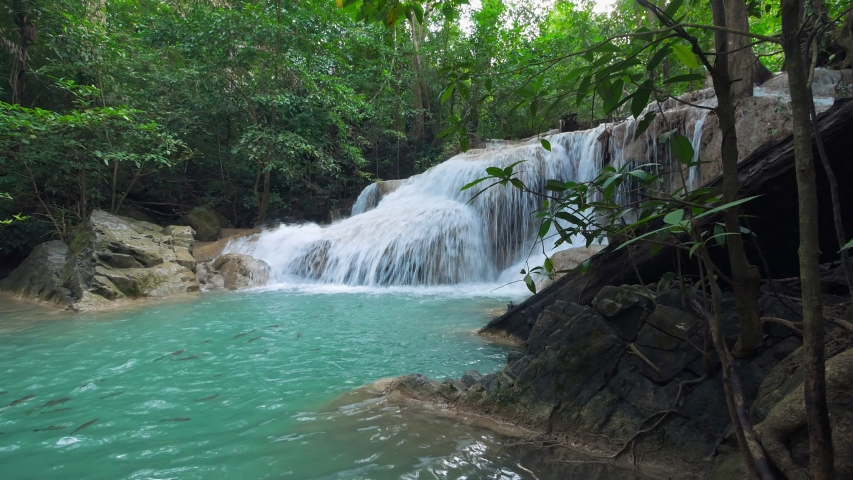 Erawan Waterfall (dolly shot), Kanchanaburi, Thailand | Shutterstock HD Video #1044058375
