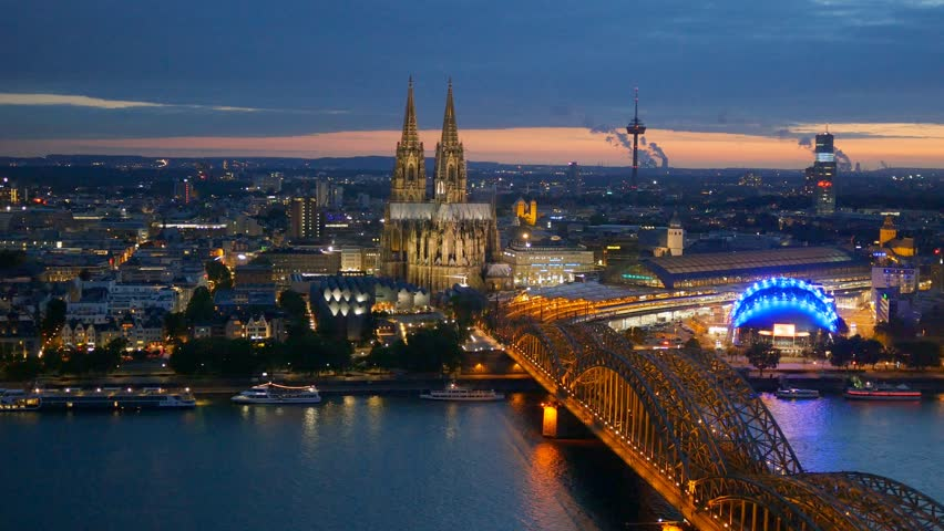 Cologne Cathedral and Hohenzollern Bridge. Cologne, Germany. Panning shot | Shutterstock HD Video #10445111