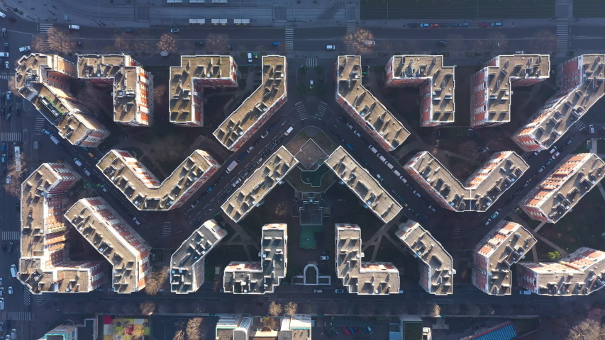 Top shot aerial over buildings in Paris France geometrical shapes architecture  | Shutterstock HD Video #1044661525