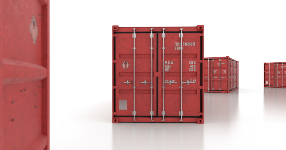 Seamless move thru shipping containers with doors opening on white background   Shutterstock HD Video #1044851455