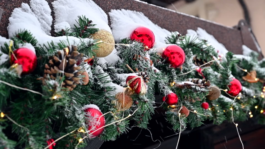 A snowy day with christmas decoration   Shutterstock HD Video #1044911665