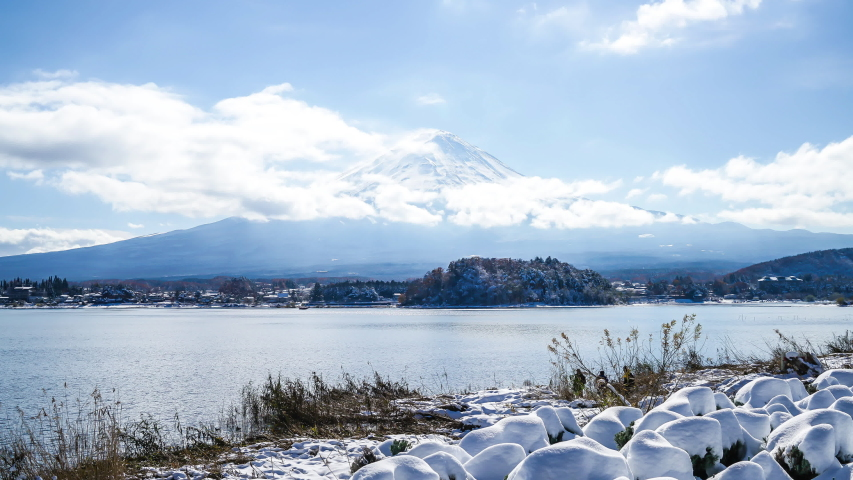 Timelapse Mountain Fuji with lake in Japan | Shutterstock HD Video #1044917395