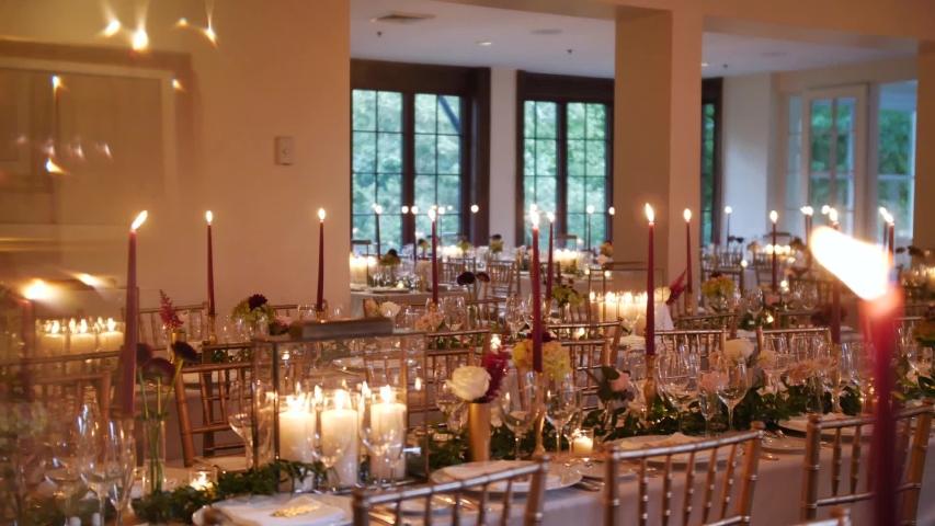 Beautiful Vintage Candle Light Wedding Reception Details    Shutterstock HD Video #1044971305