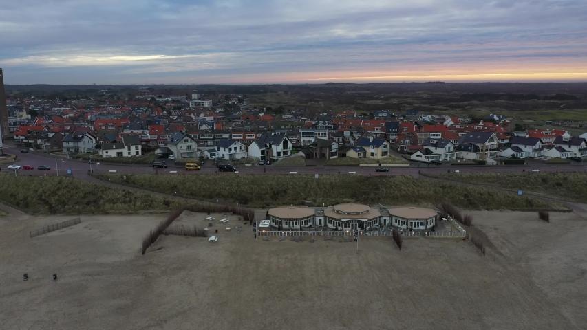 Zandvoort aerial drone 4k footage dutch beach holiday destination | Shutterstock HD Video #1045044265