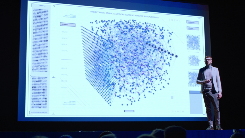 Startup Conference Stage: Visionary Speaker Presents New Software App. Screen Shows Neural Network, Artificial Intelligence, Big Data and Machine Learning Visualization. Live Event Presentation | Shutterstock HD Video #1045096495
