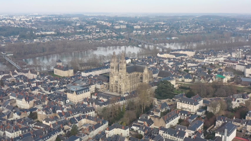 France, Tours city, wide drone aerial view, forward traveling to Saint-Gatien cathedral. | Shutterstock HD Video #1045192705