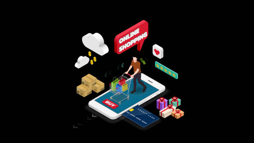 Isometric man shopping on smart phone. E-commerce online concept male person with shopping cart, technology store with alpha matte. 4k 60fps   Shutterstock HD Video #1045195825