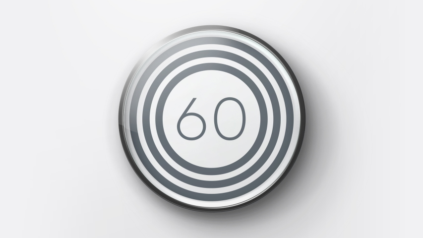 Realistic minimal countdown timer 60s animation from 60 to 0 seconds. Modern flat design with animation on white background. High quality 4K video.   Shutterstock HD Video #1045223875