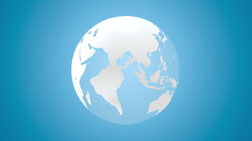3d world map globe rotating on blue background. Animation render Earth planet with continents on green screen. 4k seamless loop footage. | Shutterstock HD Video #1045355365
