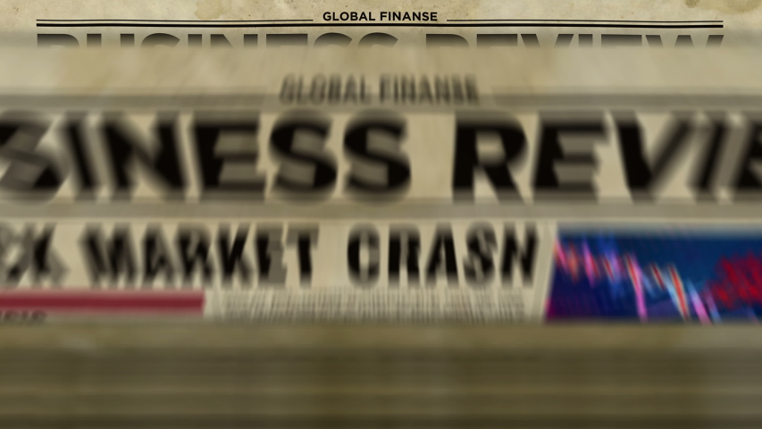 Business review newspapers with market crash printing and disseminating loopable and seamless animation. Economy, crisis, stock, market collapse and financial media press production abstract concept. | Shutterstock HD Video #1045543195
