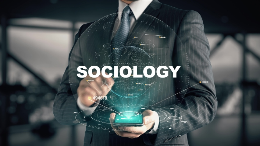 Businessman with Sociology hologram concept | Shutterstock HD Video #1045815235