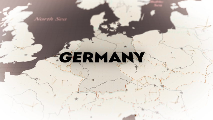 The territory of Germany on a Vintage sepia colors with animated plexus and blinking small dots. Detailed map of Europe with borders of other countries. There are other variations in my account. Loop   Shutterstock HD Video #1045851145