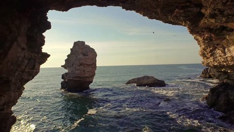 Beautiful Sea Coast Aerial Rocks Cliffs Sunset Beach Waves Crushing Sun Shining Vacation Beauty Summer Concept