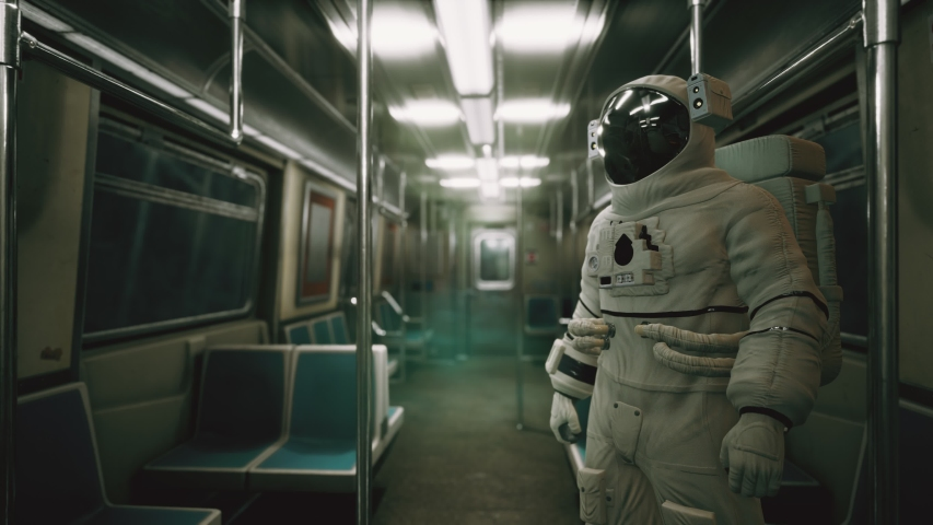 Astronaut Inside of the old non-modernized subway car in USA | Shutterstock HD Video #1046438185