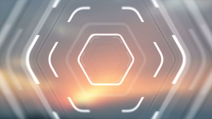 White glowing hi-tech hexagons on blurred sunset background. Futuristic geometric motion design. Seamless loop. Video animation Ultra HD 4K 3840x2160 | Shutterstock HD Video #1046457745