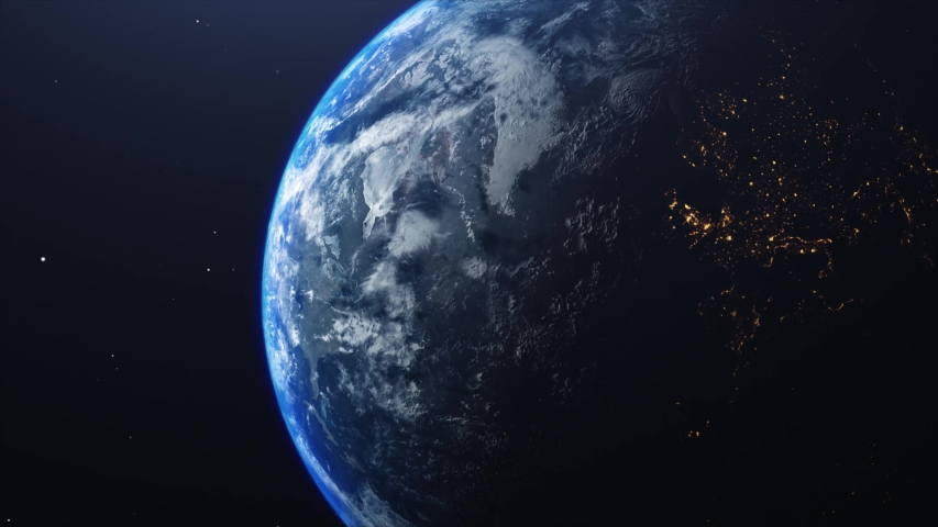 Ultra Realistic Earth in Space rotating and drifting away, stars in background - 4K | Shutterstock HD Video #1046603335