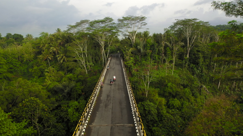 Fantastic Aerial drone flight over high bridge with panoramic view over the abyss covered with wild jungle, trees, exotic plants and green palms, Bali, Indonesia, 4k. | Shutterstock HD Video #1046718775
