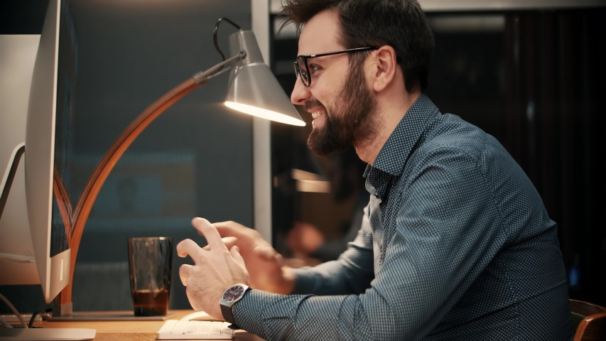 Internet Online Meeting Conference In Webinar Talking Gesturing On Webcam.Speaker With Computer Video Call.Businessman Remote Working Camera Chatting Colleagues.Business Coach Man Working In Office | Shutterstock HD Video #1046739475