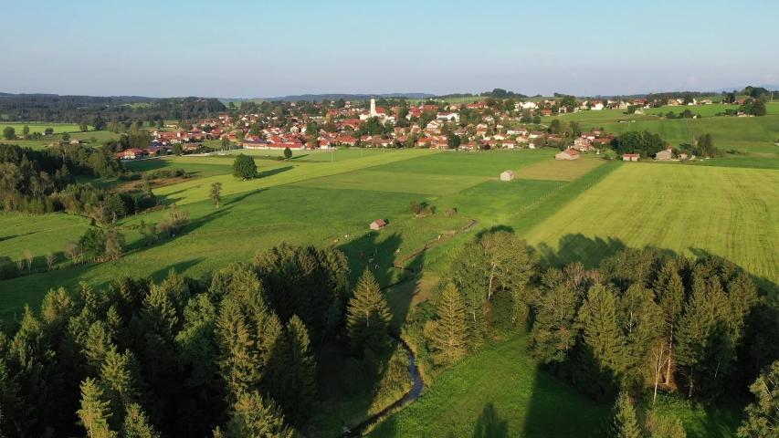Aerial of Königsdorf, Upper Bavaria, Germany | Shutterstock HD Video #1046743735