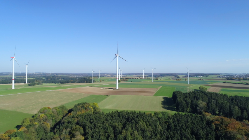 Aerial view of wind turbines, Swabian Alb, Germany | Shutterstock HD Video #1046743765