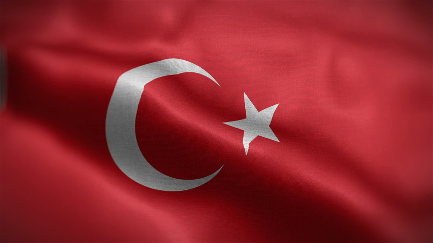 Frontal view of Turkish national flag. Flag blowing in wind. High quality textures. loopable 16 seconds video. | Shutterstock HD Video #1046759545