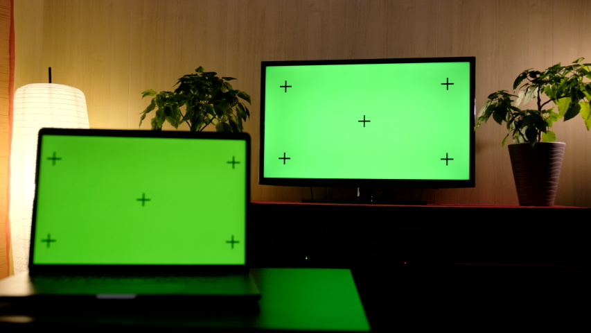 Television computer green screen TV and Computer green screen living room | Shutterstock HD Video #1046797555
