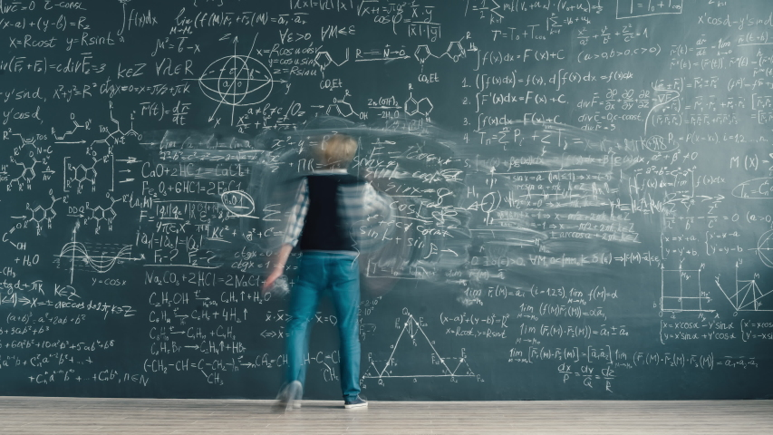 Zoom-in time-lapse of smart person solving scientific problem writing formulas on chalkboard focused on studies. People and knowledge concept. | Shutterstock HD Video #1046822605