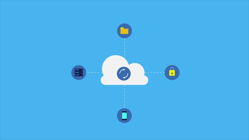 Cloud Sync, Syncing cloud storage, Cloud data, Data Sync - conceptual animated video clip   Shutterstock HD Video #1046835085