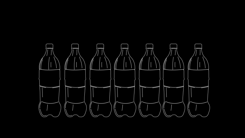Plastic bottles hand drawn sketch animation. Concept of sustainable consumption. Copy space. Black background. | Shutterstock HD Video #1046873575