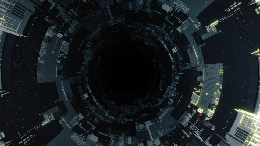 Looping Technological Sci Fi spaceship tunnel. Futuristic abstract shuttle space station corridor. Tech wallpaper and screensaver. Looping seamless background.Type 2 | Shutterstock HD Video #1046890615