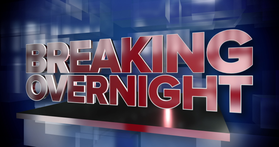 A red and blue dynamic 3D Breaking Overnight news title page animation.   | Shutterstock HD Video #1046986105