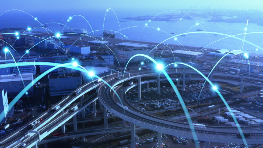 Transportation and technology concept. ITS (Intelligent Transport Systems). Mobility as a service. | Shutterstock HD Video #1047073675