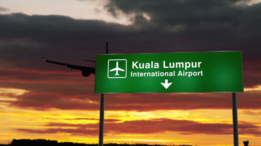 Airplane silhouette landing in Kuala Lumpur, Malaysia. City arrival with airport direction signboard and sunset in background. Trip and transportation concept 3d animation. | Shutterstock HD Video #1047094045