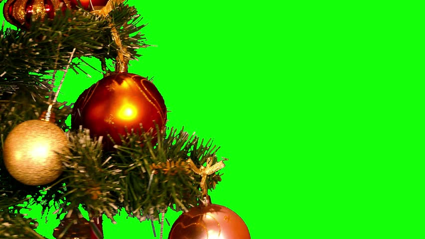 Christmas tree with Christmas-tree decorations rotating on green screen (close up shot, loop, 4k)