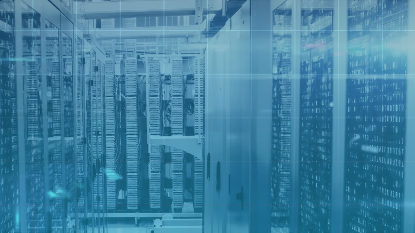 Animation of numbers and data processing and digital information flowing through network of computer servers in a server room with light trails flashing on surface. Global network of internet service | Shutterstock HD Video #1049358895
