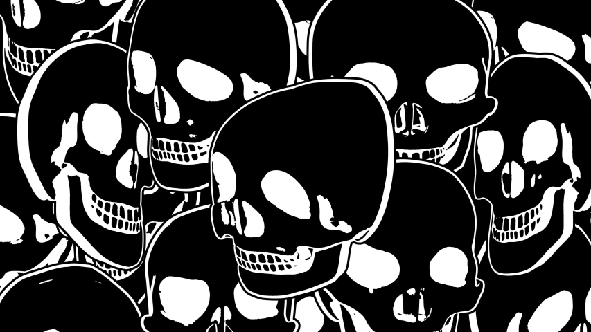 Seamless animation psychedelic skulls printed drawn style cartoon. Hypnotic halloween background with marker stroke effect in black and white. | Shutterstock HD Video #1049505565