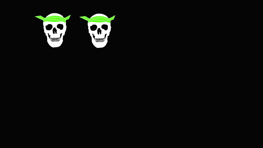 Funny Halloween background with appearing and dancing skulls in green kerchiefs. Black background. Illustration.  | Shutterstock HD Video #1049519185