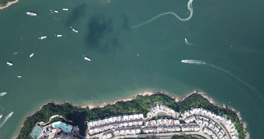 Aerial view of the Redhill Peninsula of Hong Kong | Shutterstock HD Video #1049561065