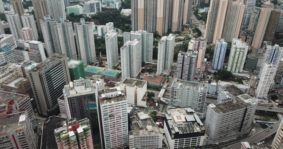 Aerial view in Quarry Bay and Tai Ko, Eastern of Hong Kong Island  | Shutterstock HD Video #1049564425