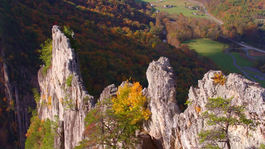 Aerial Drone View of Seneca Rocks Peak, West Virginia | Shutterstock HD Video #1049616505