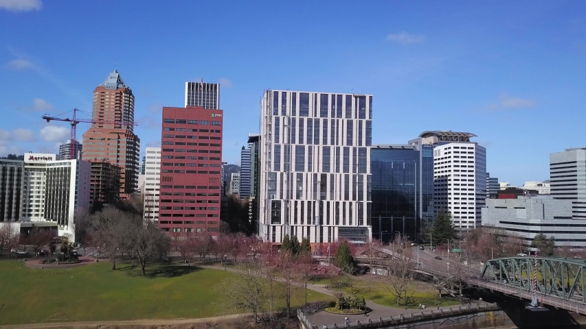 Flying up and revealing downtown Portland Oregon high rise office buildings. | Shutterstock HD Video #1049623045