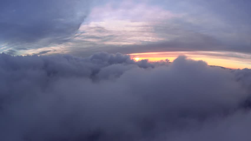 Cloud Sunset at 8000 feet. Cloud Sunset, 4k natural flight.